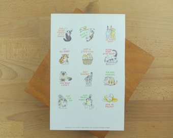 Vintage Sheet of Cat Stickers | Cat Lovers | Current 1988 | Illustrated Kitty Cats | Snail Mail Stickers