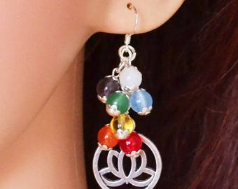 Handcrafted Lotus Chakra Charm Earrings - Pagan Jewellery, Wiccan, Witch, Reiki, Healing