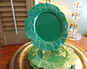 Green DESSERT or SALAD PLATES, Set of Four Ceramic / Pottery Dishes, Jardin by Shafford