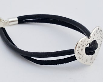 Black double strand leather and suede bracelet with silver heart charm
