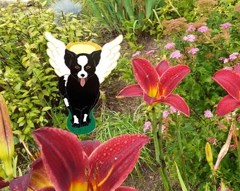 Sunny Dog-White-Black-Brown-Garden Stake-Yard Art-Dog Lovers Gift-Garden Decoration-Dog Lovers-Decor-Pet Loss-Dog Angel-LoveisRealBelieve