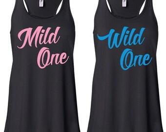 Mild One Wild One Best Friend Tank Tops - Besties Tanks Shirts for Best Friends Cute Funny