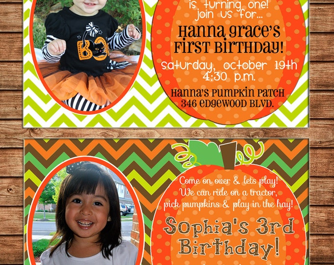 Boy or Girl Photo Invitation Pumpkin Patch Halloween Birthday Party - Can personalize colors /wording - Printable File or Printed Cards
