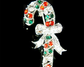 Swarovski Crystal Candy Cane Stick Bow Holiday Seasonal Christmas Red Green Pin Brooch Accessories Jewelry Best Friend Family Mother's Gift