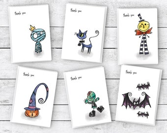 Halloween Thank You Cards (Tim Burton Inspired) Collection Pack - 24 Cards & Envelopes