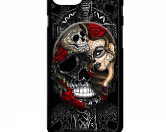 Day of the dead sugar skull girl cross tattoo rose graphic art cover for iphone 4 4s 5 5s 5c SE 6 6s 7 8 plus X phone case