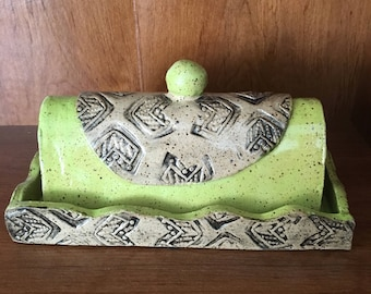 Ready To Ship- Handmade Butter Dish- Green/ Chartruse