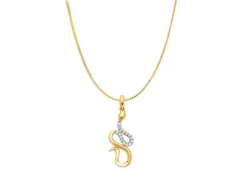 14K Solid Yellow Gold Snake Pendant