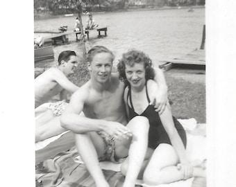 """Vintage Snapshot """"Fun At The Lake"""" Shirtless Man Swim Trunks Pretty Girl Black Bathing Suit Found Vernacular Photo"""