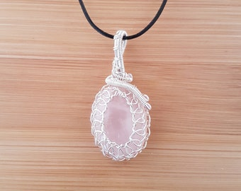 Silver wire wrapped pale pink rose quartz pendant necklace