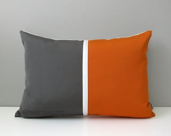 Grey & Orange Outdoor Pillow Cover, Mid-Century Modern Color Block, Decorative Gray White Throw Pillow Cover, Tuscan Sunbrella Cushion Cover