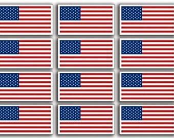 Sheet of 9 USA Flag Stickers (helmet american scrapbook decals)