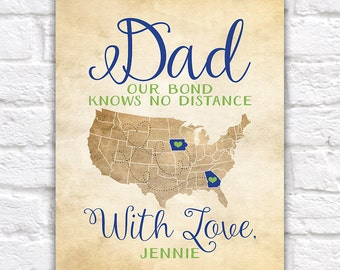 Gift for Dad, Fathers Day Gifts, Long Distance Father and Daughter, Kids, Son, Deployment, Gift for Husband on Fathers Day, Step Dad