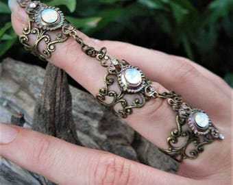 Steampunk ring claw ring armor ring  triple ring nail ring white opal goth victorian moon goddess pagan witch boho gypsy style