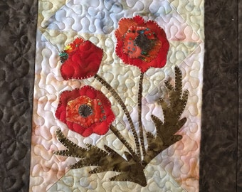 Pretty Poppies Table Runner PDF pattern from Quilt Doodle Designs