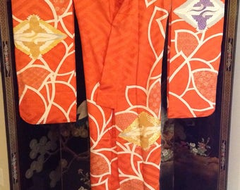 Vintage Orange Japanese Wedding Kimono