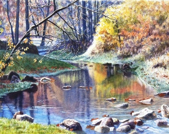Autumn Creek Watercolor Painting Print by Cathy HIllegas,16x22, watercolor landscape, watercolor print, watercolor creek, autumn landscape
