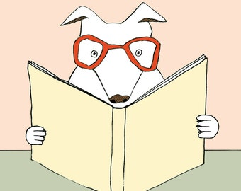 Rex the Reading Dog print - Childrens Art - Nursery Art