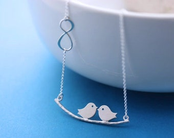 Silver lovebirds necklace. Infinity necklace, Silver love birds, infinity necklace, Anniversary Gift for her. Bridal Shower gift