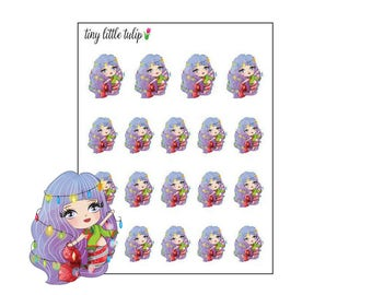 Planner Stickers Christmas Mermaid Purple Hair