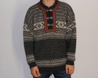 vintage 90s Norwool sweater Norway moose sweater half zip heavyweight wool winter skiing ski sweater M medium V5VJAp
