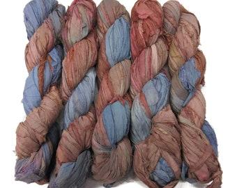 New! Sari Silk Ribbon, 100g , color: Stone Gray/Bronze