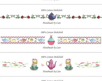 Teatime Dishcloth/Washcloth Labels - PDF File Only