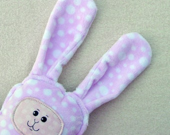 Bunny Pillow Plush - Polka Dot Bunny - Minky Bunny - OOAK Bunny - Stuffed Bunny Rabbit - Woodland Rabbit - Bunny Nursery - Pink Bunny Friend