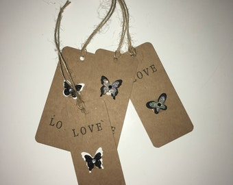 Handmade - Hand Stamped -  Gift Tags - Set of 4 - Butterfly Design - Gift Labels