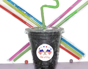 4th Of July Party Cups, Flag Cups, Kids Birthday Party Cups, 20 Cups, BBQ Kids Party Cups, Straws and Lids, 12 Ounce Cups