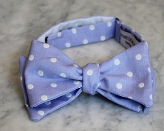 Periwinkle Purple Polka Dot Bow tie - clip on, pre-tied wtih strap or self tying - ring bearer outfit or wedding attire