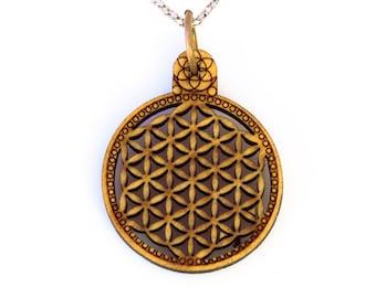 Flower of Life Wooden Pendant Sacred Geometry Mandala Circle Seed of Life Laser Cut