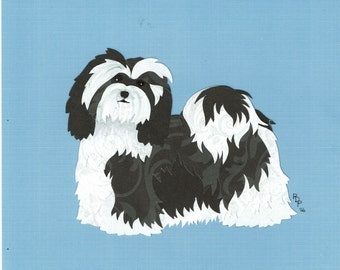 Havanese handmade original cut paper collage dog art all colors available