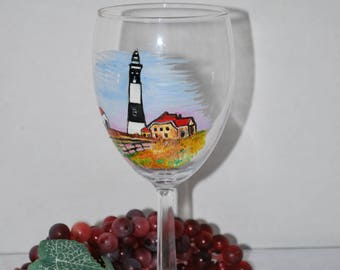 Hand Painted Lighthouse Wine Glass