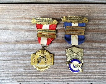 Pistol League Medals New London Co. Team championship High Average 1963 and Second Place 1959 Competition Ribbons Free Shipping