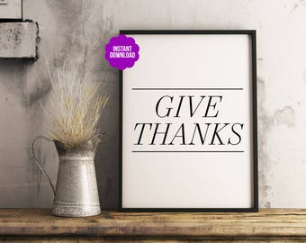 "Fall/Autumn Wall Print ""Give Thanks"" Thanksgiving Printable Typography"