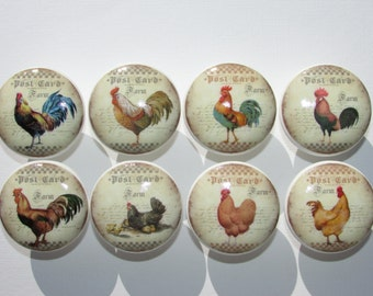 Rooster Chicken Farm Dresser Drawer Cabinet Knobs Set of 8