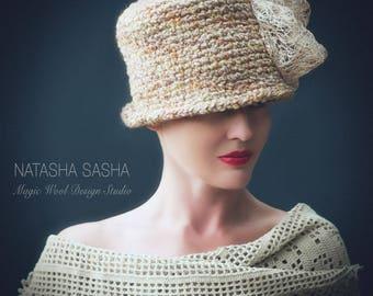 Beige hats women Fashion accessories Vintage hat Hat with brim Exclusive design  Wool hat Hand knit hat Winter hat