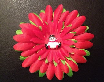 Red and Green Gerber Daisy Hair Clip With Snowman Center