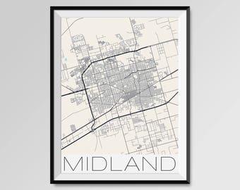 MIDLAND Texas Map, Midland City Map Print, Midland Map Poster, Midland Wall Map Art, Midland gift, Custom city maps, Personalized Texas map