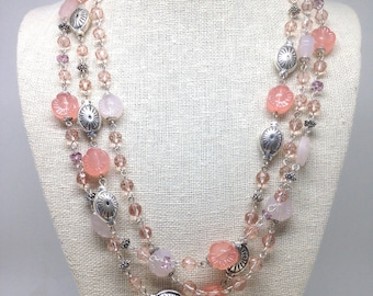 Stunning Estate Signed Avon Pink Beaded Silver Tone Necklace