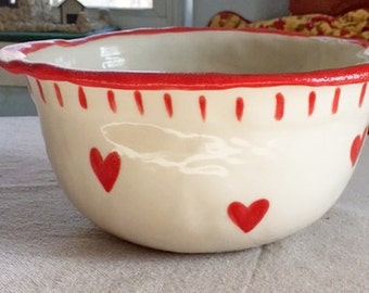 Holiday Gift, Custom Valentine, Personalized, Mixing Bowl,Large, Rustic Bowl, Heart Pottery, Valentine, Gift, Inscribed