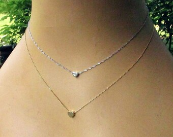 Silver or Gold Tiny Heart Necklace - Petite Heart Slider on Delicate Chain - Choose Your Length - Minimalist Layering Necklaces