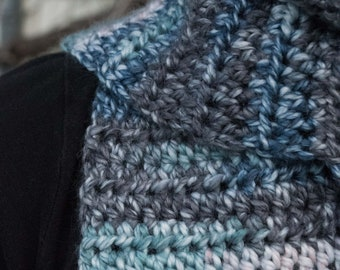 Blue and Grey Variegated Crochet Scarf