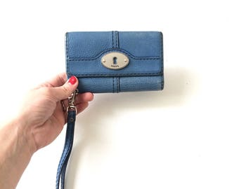 Blue Leather Fossil Wallet