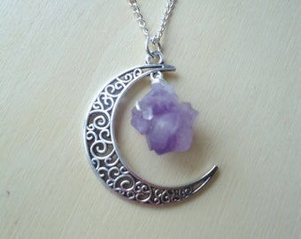 Amethyst Crescent Moon Necklace - Moon Pendant - Celestial Jewelry - Healing Gems - Handmade Gifts