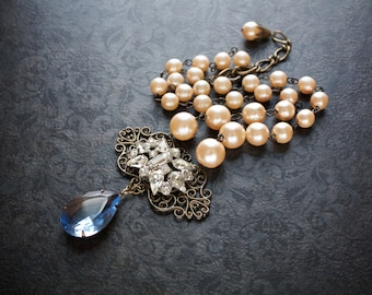 Antique Pearl Necklace Blue Drop Pendant Graduated Pearl Vintage Rhinestone Edwardian Victorian Assemblage Upcycled Reworked Vintage