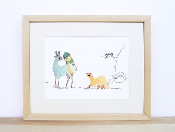 Kid And Forest Animals Winter Watercolour Of Woodland