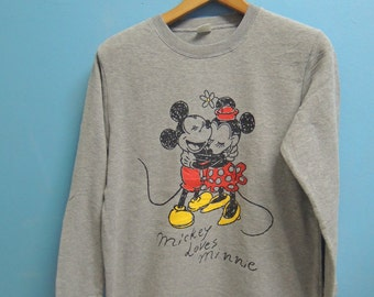90's Vintage Mickey Loves Minnie Sweatshirt Pull Over Crewneck Cartoon Sweater Size L