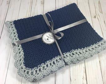 Crochet baby blanket, baby blanket, blue baby blanket, baby boy blanket